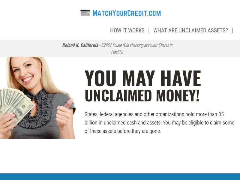 MatchYourCredit.com - Unclaimed Money - US - CPL [DIRECT]