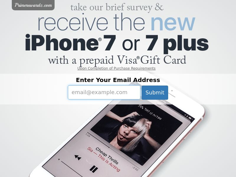 Win an iPhone 7 - Email Submit