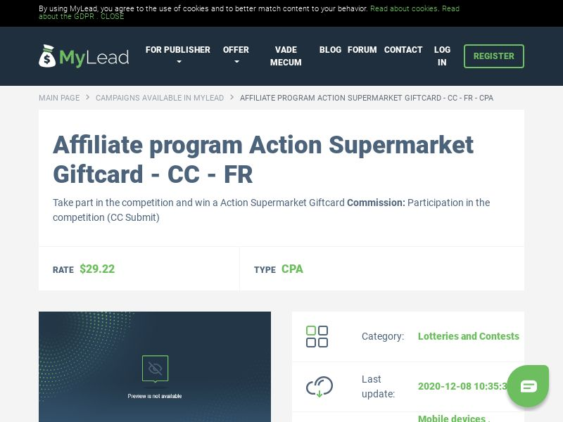 Action Supermarket Giftcard - CC - FR (FR), [CPA]