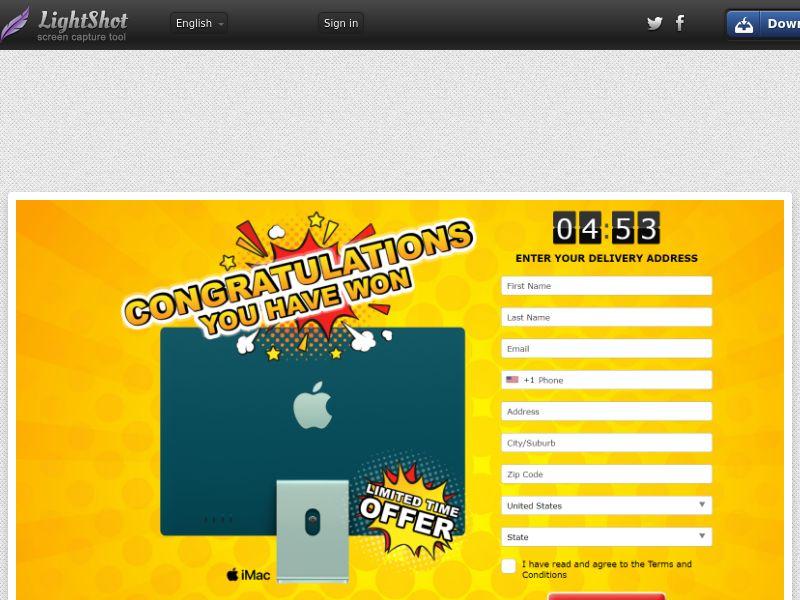 LotsPrizesToday - New iMac 2021 (Orange) (US) (Trial) (Personal Approval)