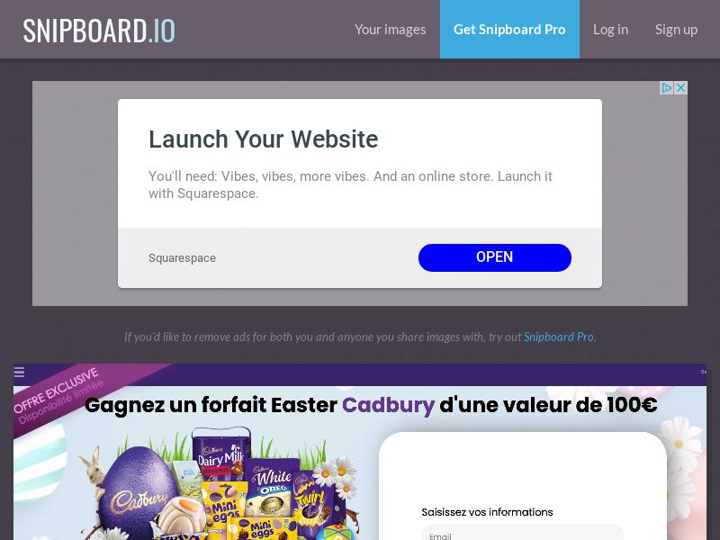 40603 - FR - CONSUMERSCONNECT - Win cadbury easter package - SOI