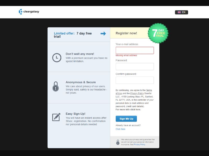 ClearGalaxy - Direct Signup [WW] - CC Submit