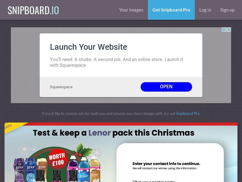 YouSweeps - Test a lenor pack christmas UK - SOI