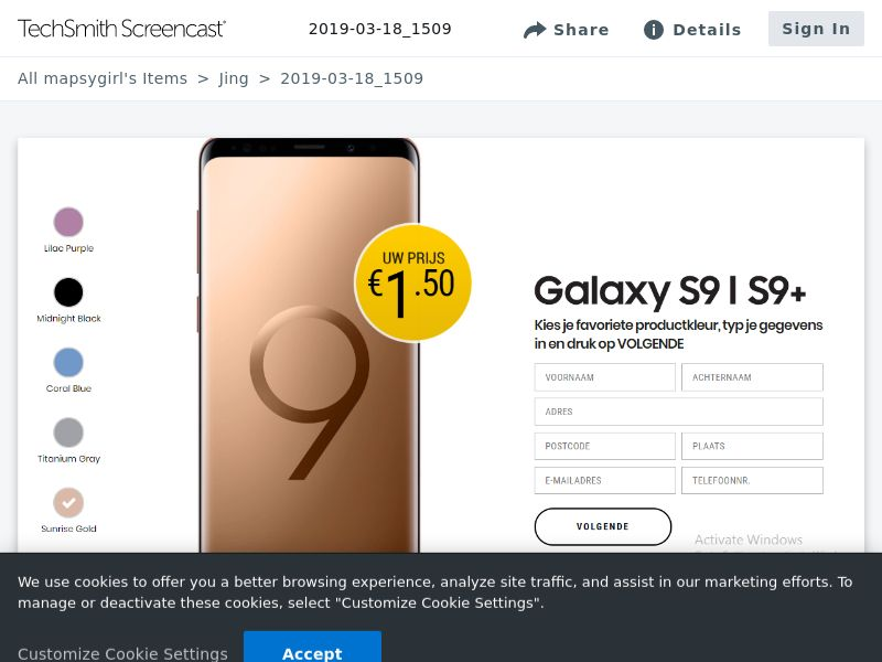 winlotsofthings New Galaxy S9 (Sweepstake) (CC Trial) - Netherlands [NL]