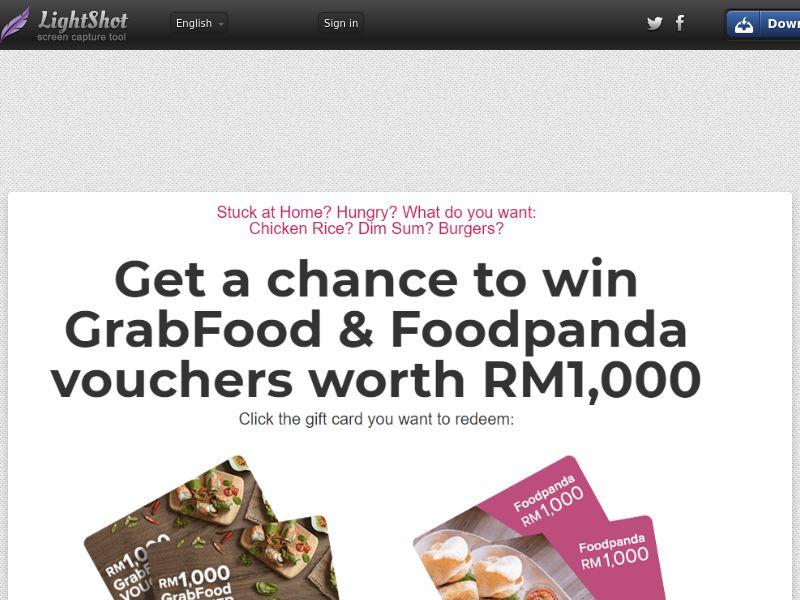 Kupon Giftcard - Food Delivery. Grabfood vs Foodpanda (Sweepstake) (SOI) - Malaysia