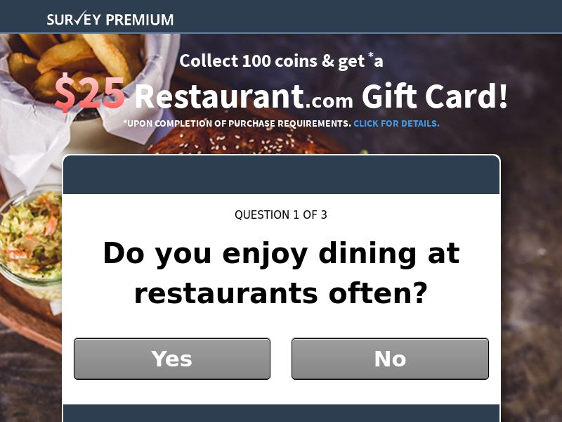 Survey Premium - Restaurant.com GC - Email Submit - US [EMAIL ONLY]