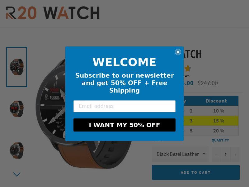 R20 Watch (AT, AU, BE, CA, CH, DE, DK, ES, FI, FR, IE, IL, IT, JA, MX, NL, NZ, PT, SE, SG, UK, US)