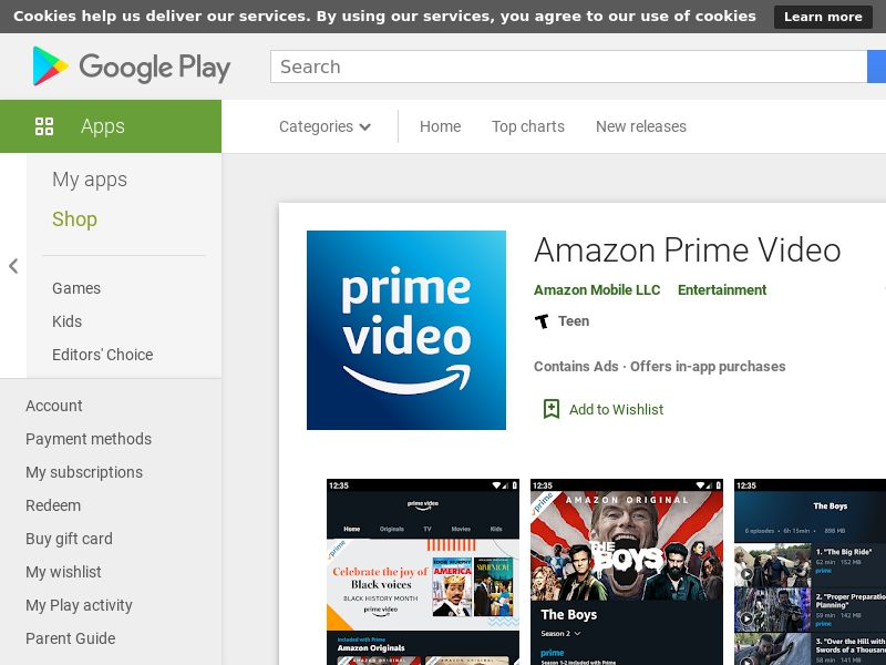 Amazon prime - Android - IN (KPI: See details)