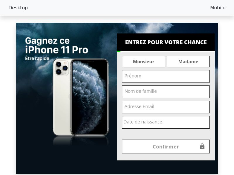 Sweepstake Win iPhone 11 Pro - SOI CPL - [FR]