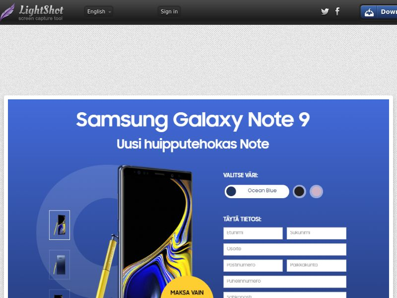 Spotless Mind Samsung Galaxy Note 9 (Sweepstake) (CC Trial) - Finland