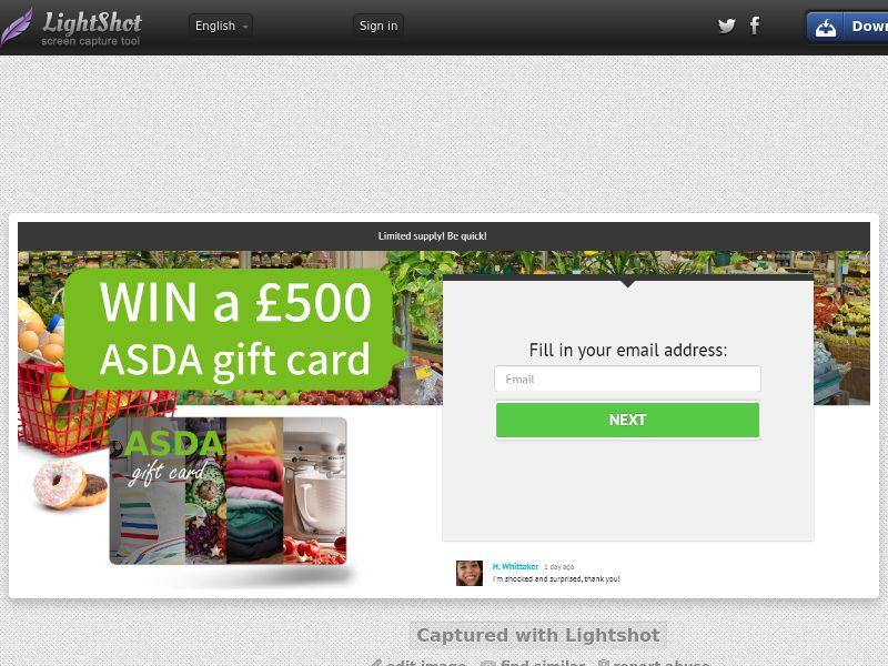 YouSweeps Win Asda gift £500 card (Sweepstake) (SOI) - United Kingdom