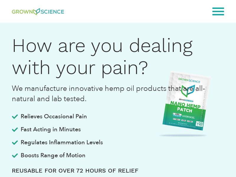 GrownScience - CBD Pain Patch US   CC Submit
