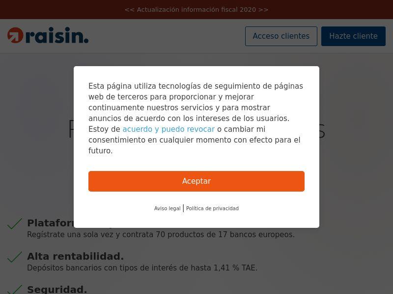 Raisin - ES (ES), [CPA], Business, Account, Savings account, bank, finance