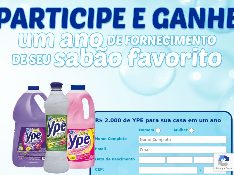 Sweepstakes YPE: 2000 R$ soap supply - CPL - [BR]