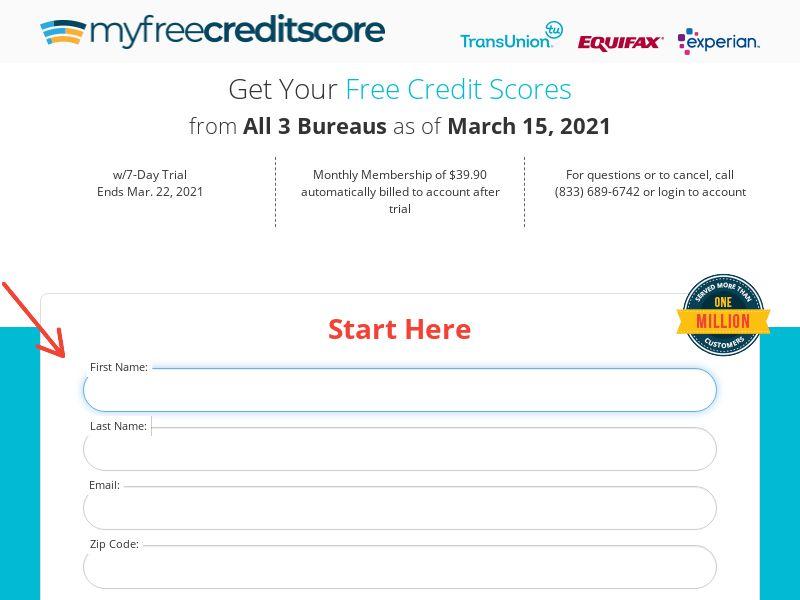 Myfreecreditscore.us - $1 Trial