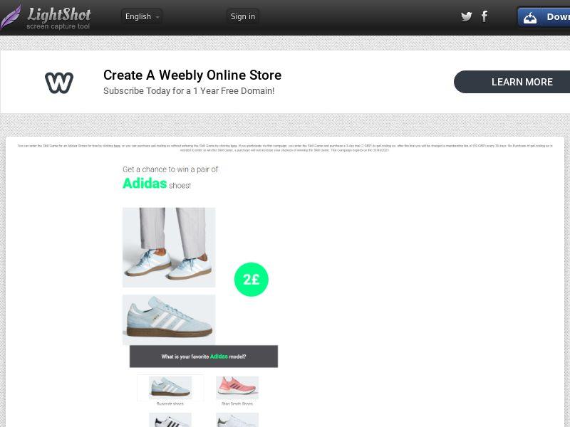 Adidas (CC Submit) - Sweepstakes - UK