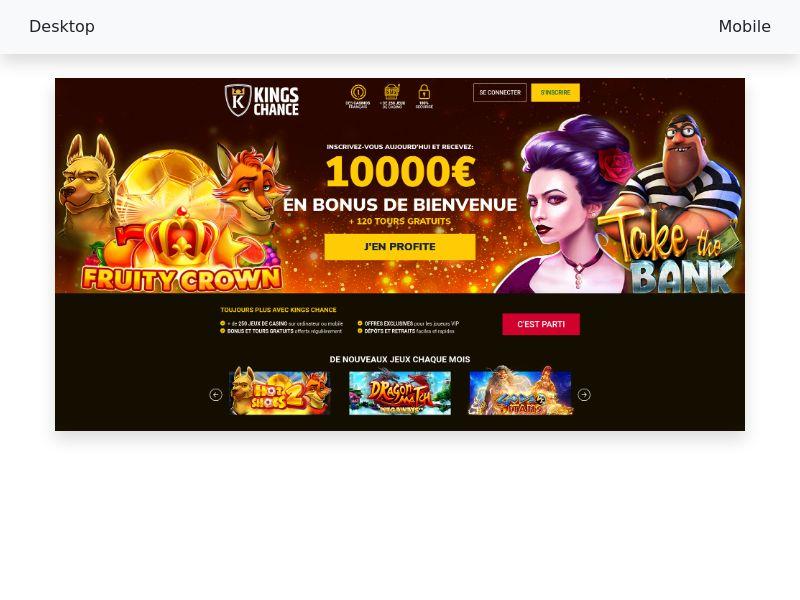 King Chance Casino CPA [AU, CA, FR, NZ]