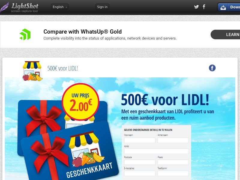 winlotsofthings Lidl Giftcard (Sweepstake) (CC Trial) - Netherlands