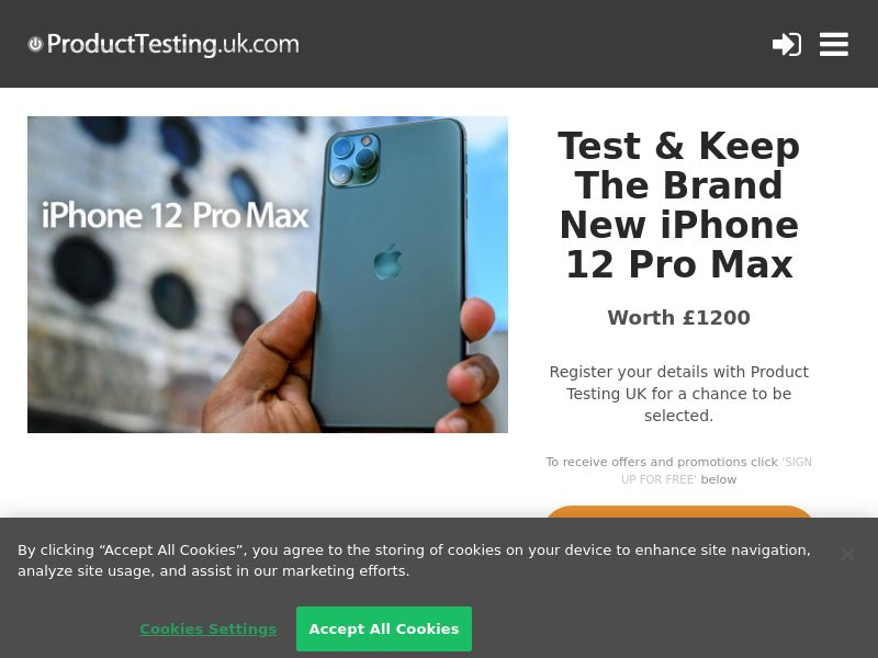 Product Testing - Test & Keep the New Apple iPhone 12 Pro Max CPL [UK]