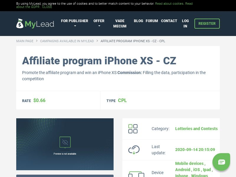 iPhone XS - CZ (CZ), [CPL], Lotteries and Contests, Single Opt-In, paypal, survey, gift, gift card, free, amazon