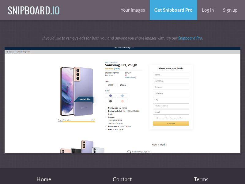 39797 - UK - CreditSupport - Samsung S21 - Amazon - CC submit