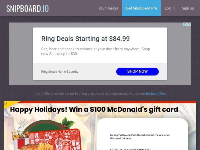YouSweeps - Win mcdonalds gift card christmas CA - SOI