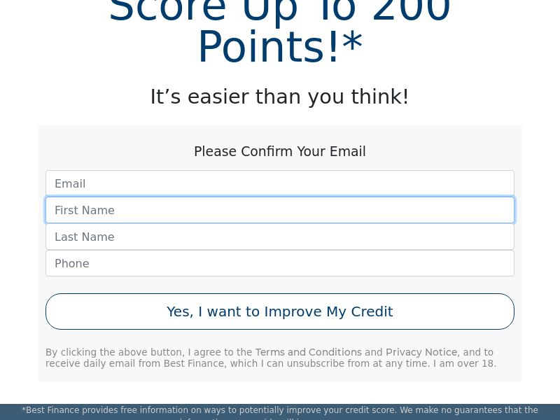 Improve Your Credit Score up to 200 points - CPL - US [DIRECT]