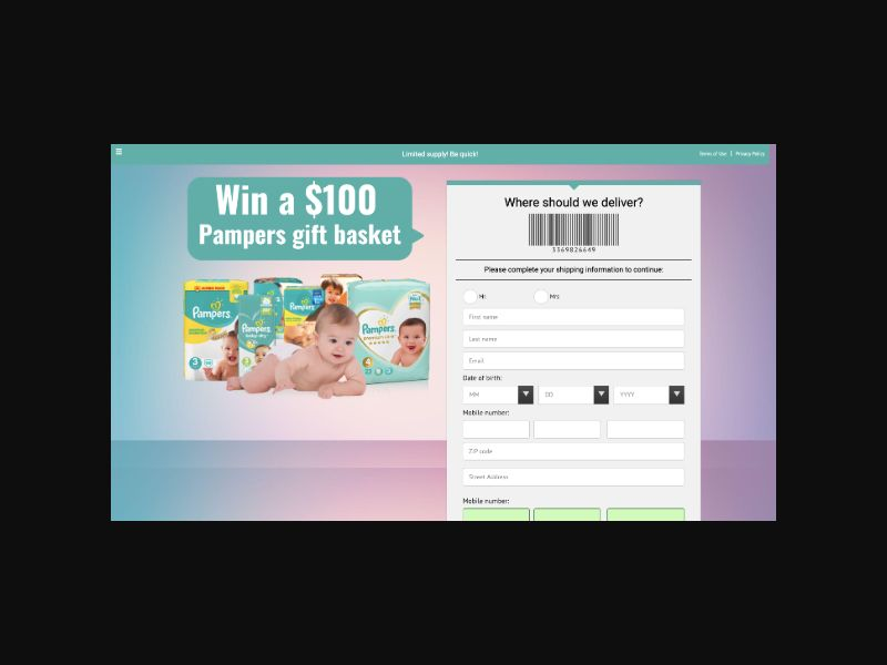 YOUSWEEPS Win a Pampers Gift Basket (US) SOI