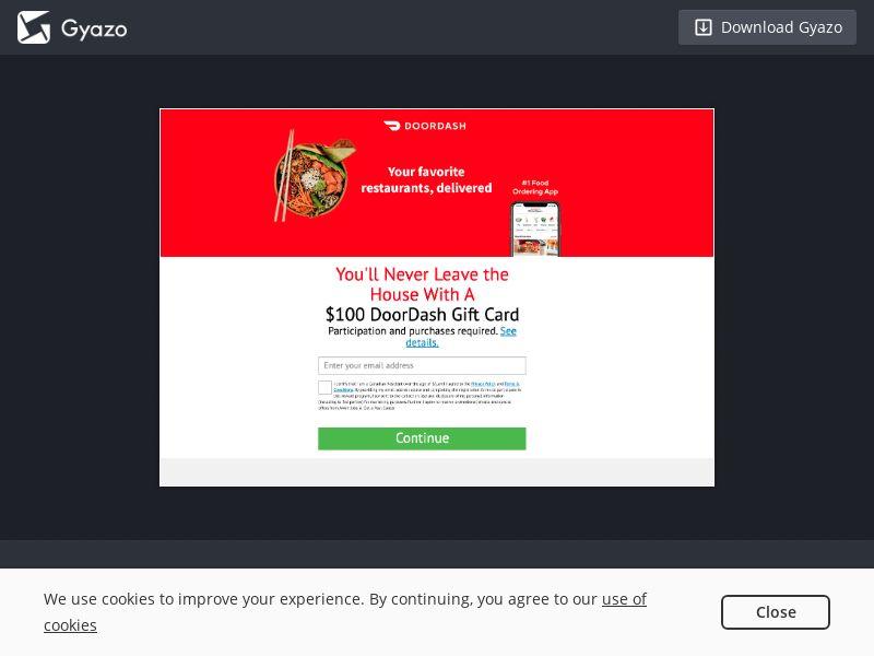 $100 DoorDash Gift Card - CA [CA]