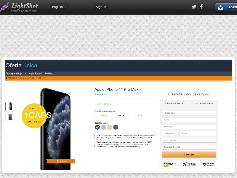 winlotsofthings iPhone 11 Pro Max Amazon (Sweepstake) (CC Trial) - Portugal [PT]