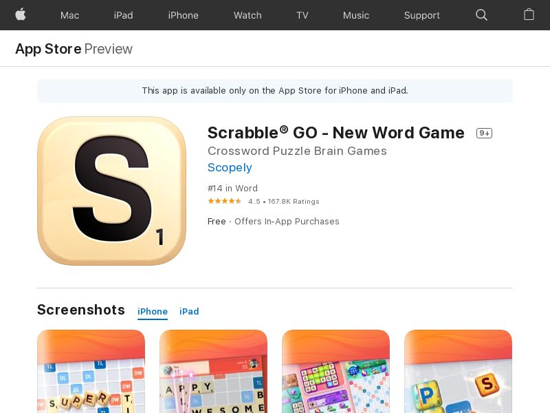 Scrabble GO - New Word Game iOS (US)