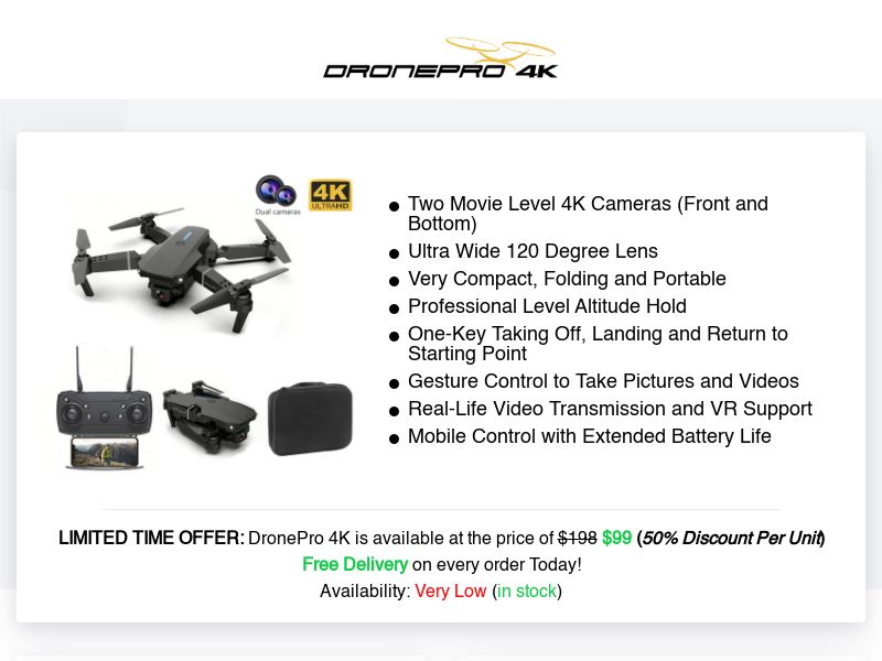 Compact, Foldable, Portable, amp; Durable | DronePro 4K Review - PromoSimple  Giveaways Directory