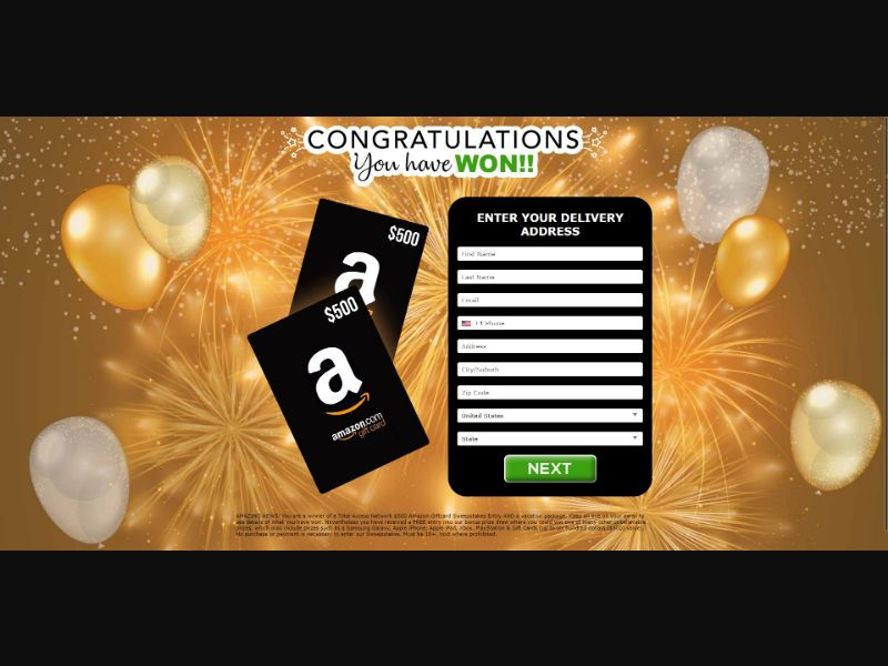 $500 Amazon Gift Card - Sweepstakes & Surveys - Trial - [US]