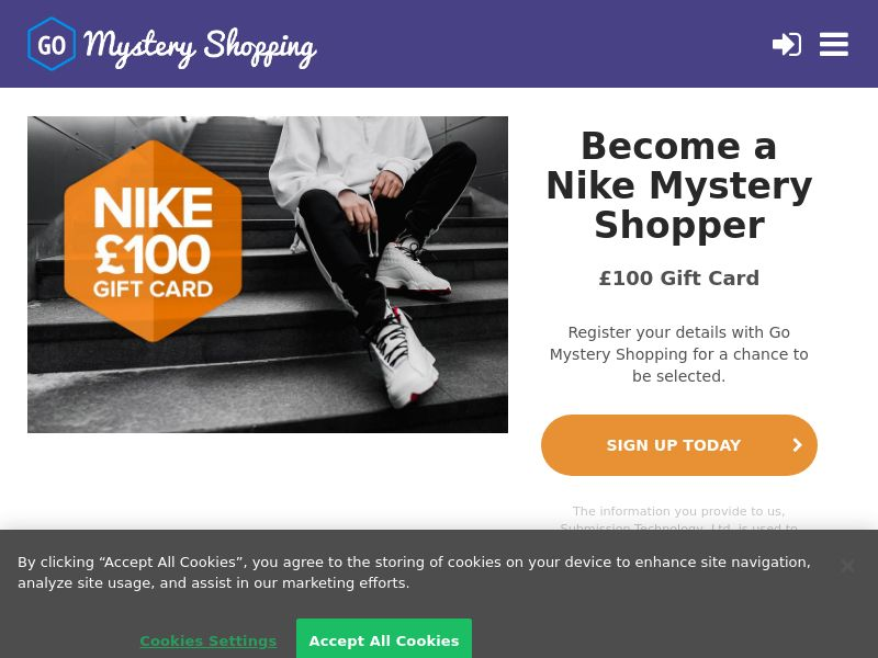 Go Mystery Shopper - Receive £100 to become a Nike Mystery Shopper CPL [UK]