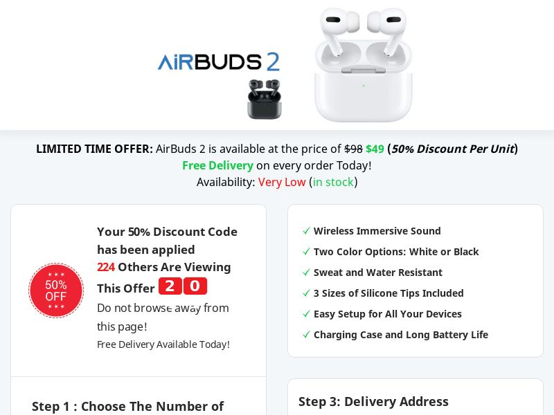 Airbuds 2 - 50% Off Limited Time Offer