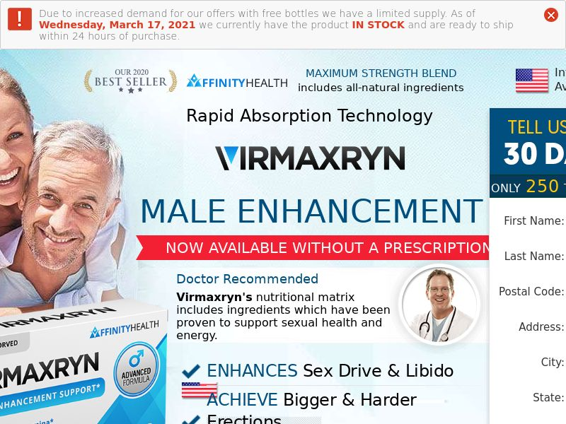 Trial - Virmaxryn w/ Upsell [US] (Banner,Native,Social,Search,PPC,SEO) - CPA {No Email}