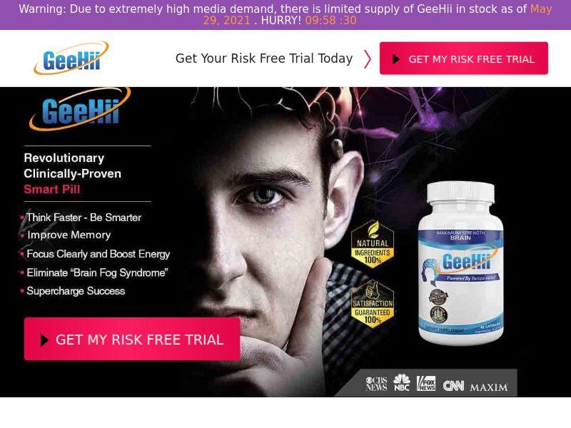 GeeHii Brain Cognitive Enhancer (Trial) (US) (52% Rebill Required)