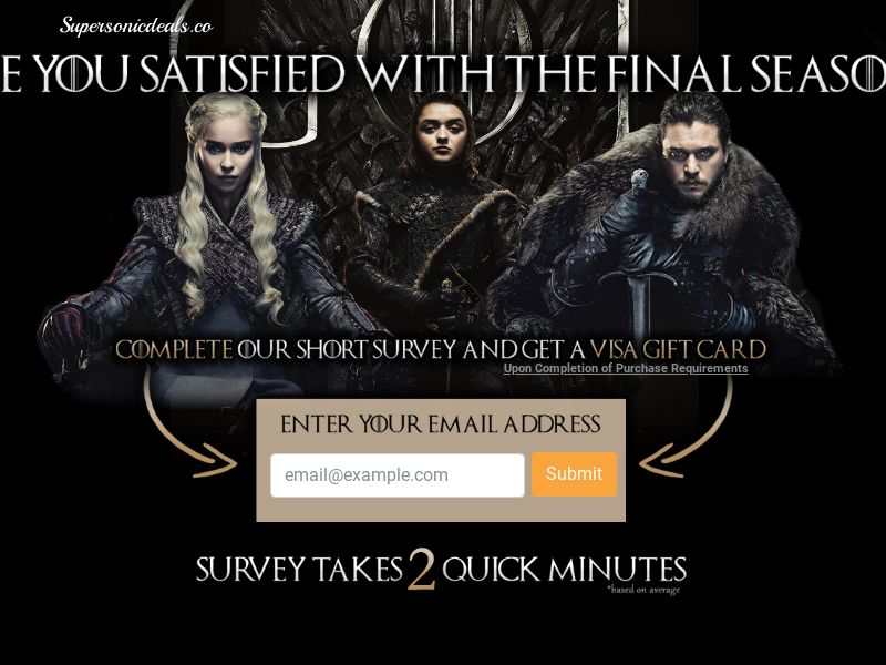 SuperSonicDeals Game of Thrones - Email Submit - Incent