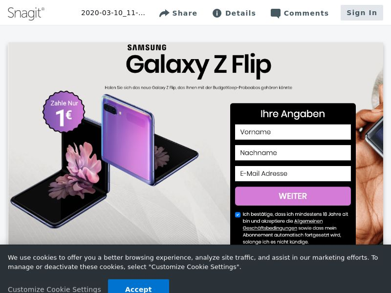 Samsung Z Flip - CC - DE (DE), [CPA], Lotteries and Contests, Credit Card Submit, paypal, survey, gift, gift card, free, amazon