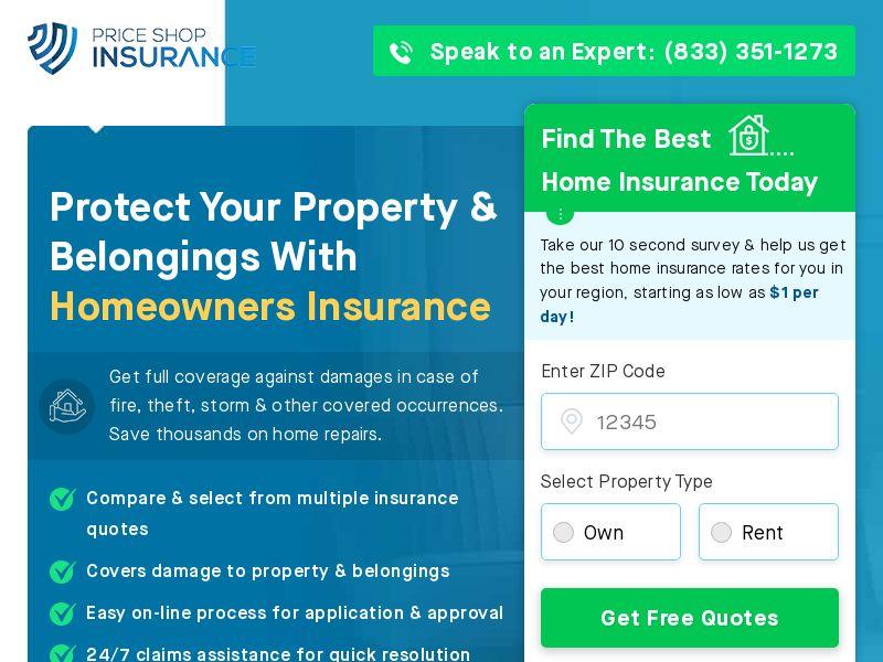 Price Shop Insurance - Home Short Form