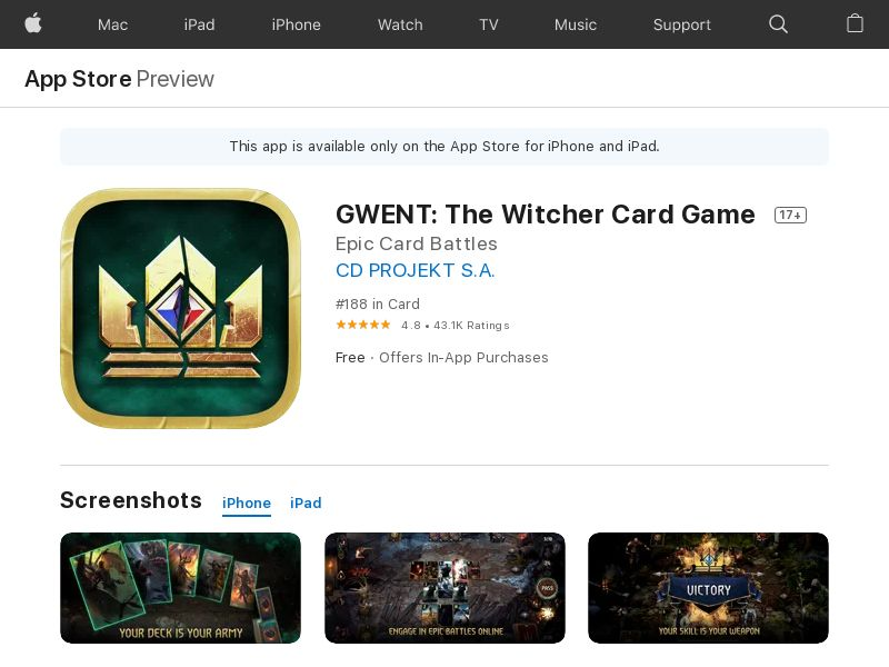 GWENT: The Witcher card game [CPI, iOS] US
