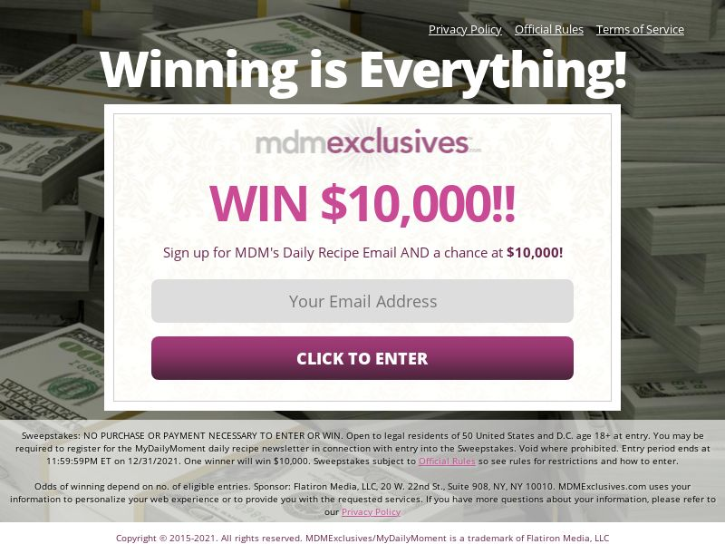 Email Submit - MDMExclusives Win $10,000 - SOI (US)