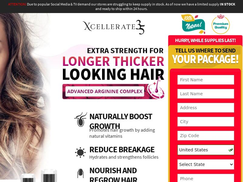 Xcellerate 35 Hair Growth for Women (Trial) (US)