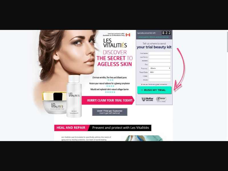 Les Vitalities - Skin Care - Trial - NO SEO - [CA] - with 1-Click Upsell [Step1 $34.00 / Upsell $32.30]