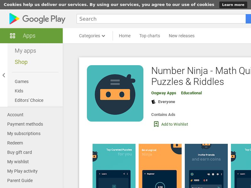 Number Ninja - Math Quizzes, Puzzles & Riddles