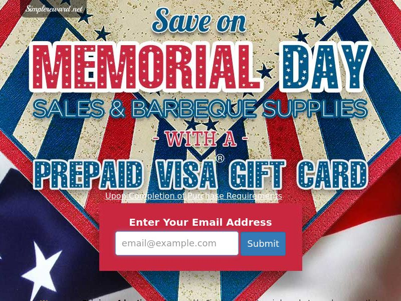 Memorial Day Gift Card - Email Submit