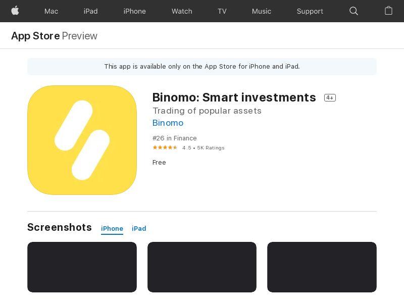 Binomo - Worldwide - Mobile (iOS) - CFTD - DIRECT