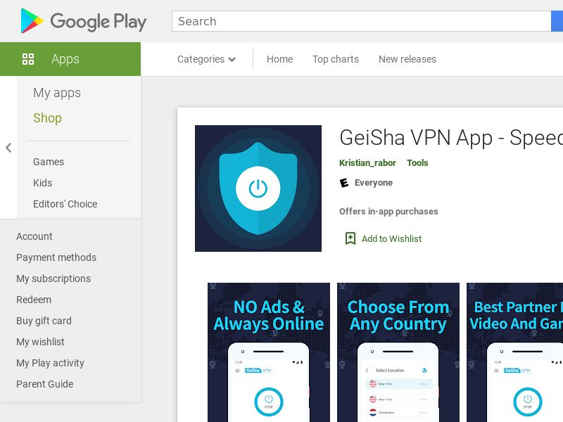 Geisha VPN Utilities - Android - US (US), [PPI]