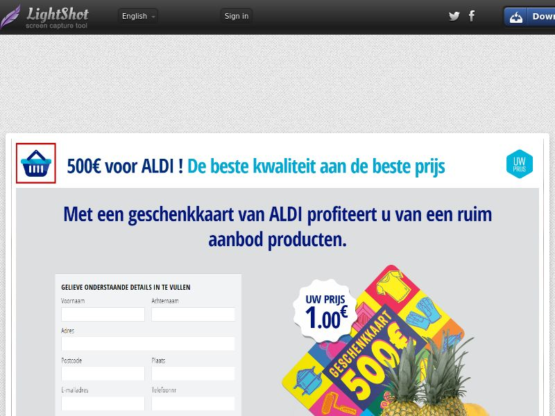 winlotsofthings 500€ ALDI Giftcard (Sweepstake) (CC Trial) - Belgium (BEnl)