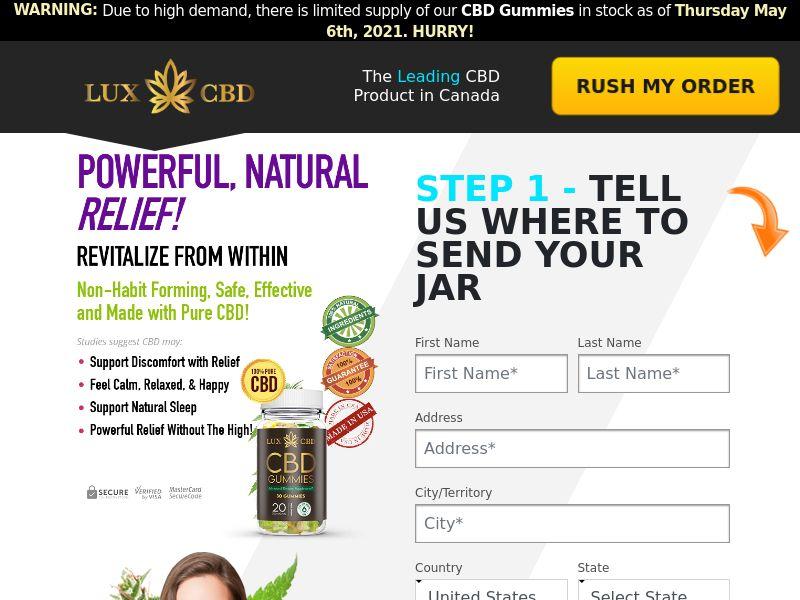 Lux CBD Gummies [US] (Email,Social,Banner,Native,Push,SEO,Search) - CPA